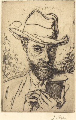 A Man Etching - Self-Portrait