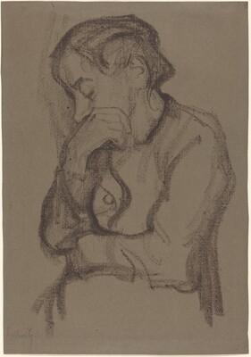 Woman Covering Her Mouth with Right Hand (Halbfigur einer Frau mit der rechten Hand  den Mund Bedeckend)