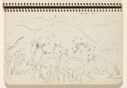 Plow Horses Near Stone Wall
