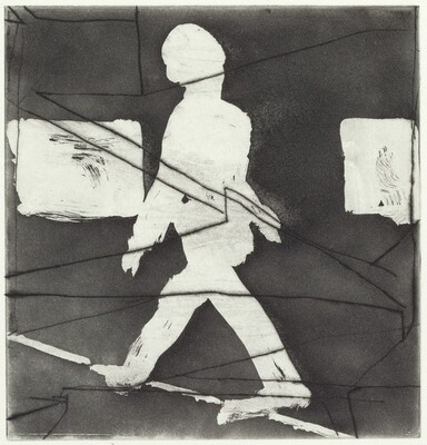 Walking Figure with Drypoint