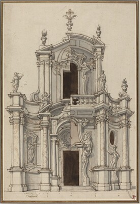 Elevation for a Church Facade, with Alternatives
