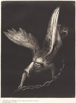 Apres cela je vis descendre du ciel un ange qui avait la clef de l'abime, et une grande chaine en sa main (And I saw an angel come down from heaven, having the key of the bottomless pit and a great chain in his hand)