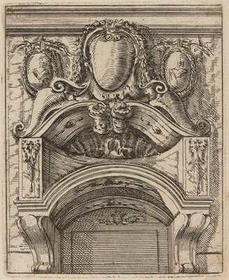 Architectural Motif with Three Shields, Two with Figures