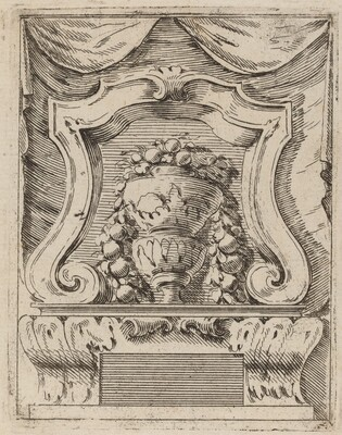 Architectural Motif with Fruit in a Vase