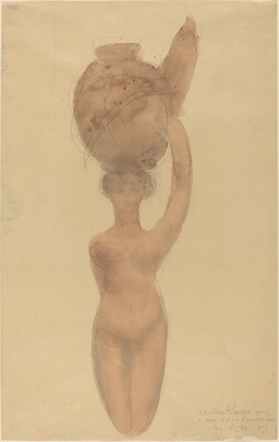 Nude Woman Carrying Vase on Head