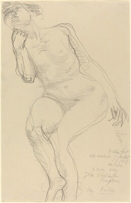 Seated Female Nude Leaning to the Left