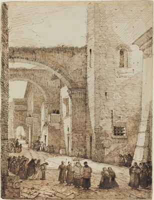 A Priest Processing through a Medieval Street in Viterbo