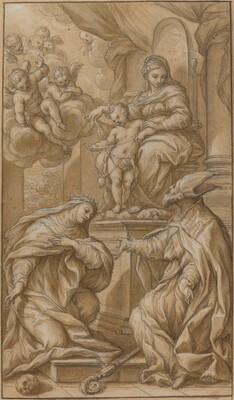 The Madonna and Child Enthroned, Adored by Two Saints