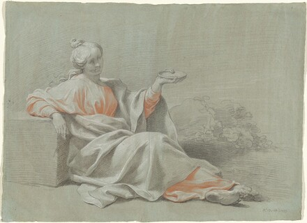 Young Woman with a Bowl, Seated Outdoors