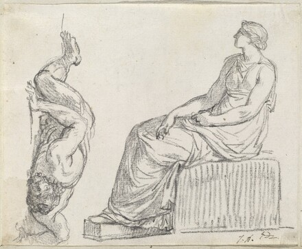 Seated Woman and Man Sprawling on the Ground