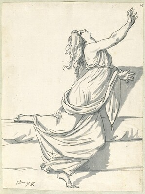 A Distraught Woman with Her Head Thrown Back