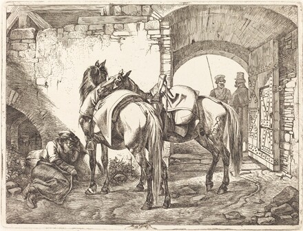 Cossack Horses in a Courtyard