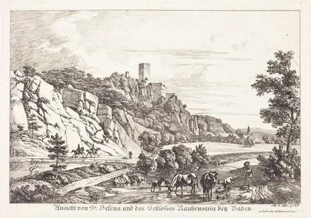 Ansicht von St. Helena und des Schlosses Rauhenstein bey Baden