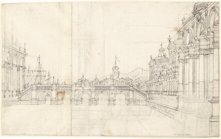 A Capriccio of Palaces and a Loggia Facing a Classical Bridge