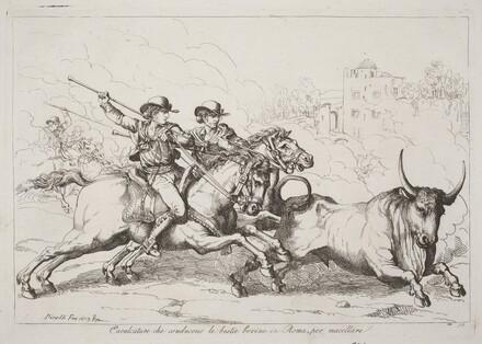 Cavalcature che conducono le bestie bovine in Roma, per macellare (Cattle Driven to the Slaughter in Rome) (Plate 16)