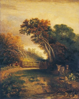 Landscape with Picnickers and Donkeys by a Gate