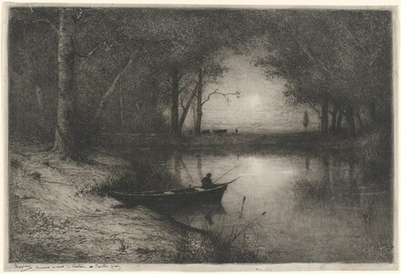 Pecheur en Canot, au bord d'une Riviere (Fisherman in a Boat)