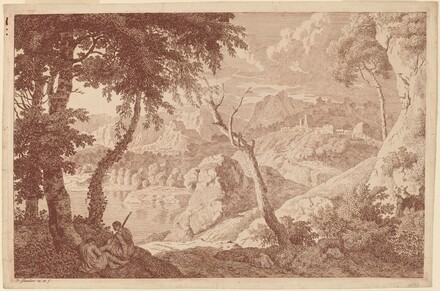 Mountain Landscape with Two Men Resting