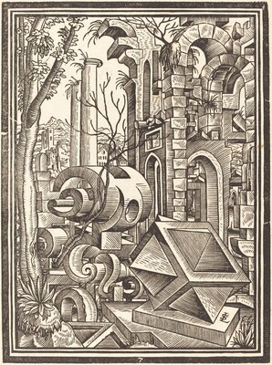 Fantasy of Perspectival Forms Set among Ruins