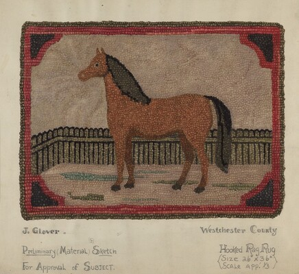 Hooked Rug with Horse