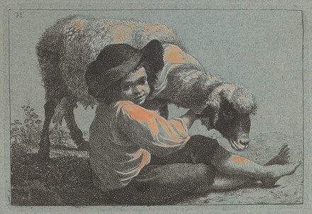 Seated Peasant Boy Holding a Sheep