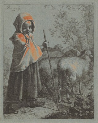 Child Shepherdess with Flock