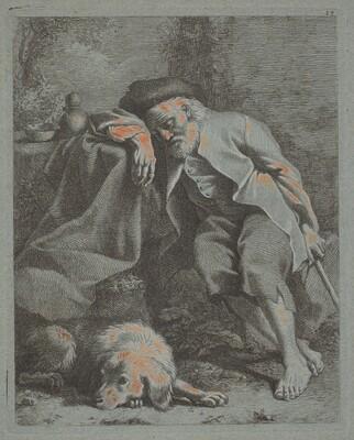 Sleeping Old Man with Dog