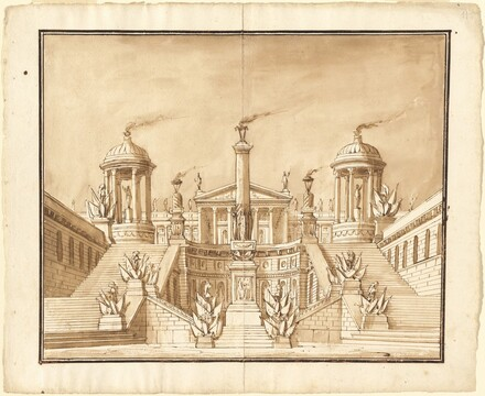 Fantasy of an Ancient Capitol with Trophies and Grand Staircases