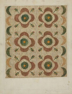 Applique and Quilted Coverlet