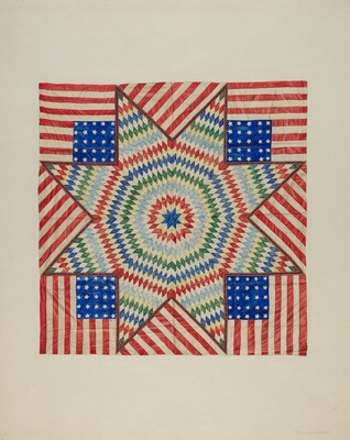 Star and Flag Design Quilt
