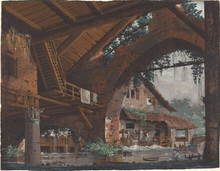 Architectural Fantasy of Antique Ruins with a Watermill