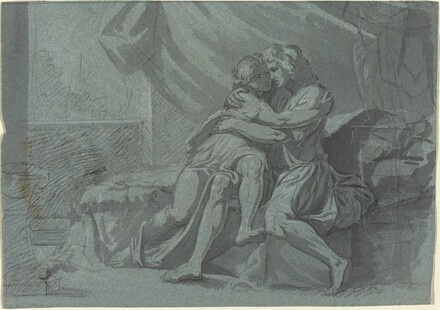 Embracing Lovers in Classical Dress / A Woman in Classical Dress Looking Up