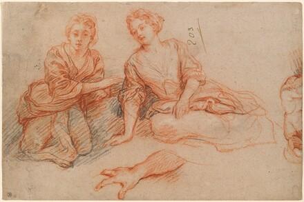 Two Young Women Seated on the Ground [recto]
