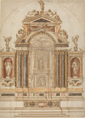 An Elaborate Altar of Colored Marble Ornamented with Sculptures