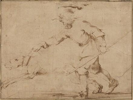 Huntsman with a Hound on a Leash
