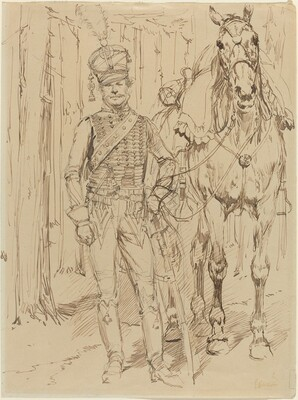 A French Hussar Leading a Horse