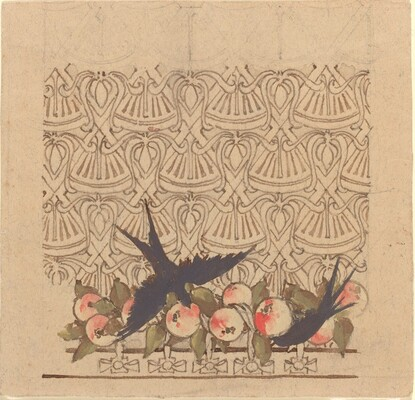 Ornamental design with two birds pecking at fruit