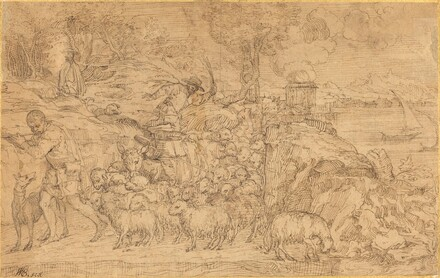 Shepherd Playing a Flute and Leading His Flock