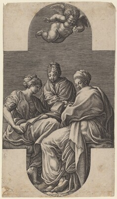 Three Muses and a Gesturing Putto
