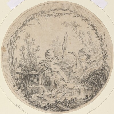 Two Putti Playing with Swans