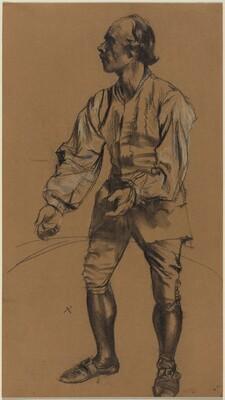 Richard Menzel Posing in Eighteenth-Century Costume