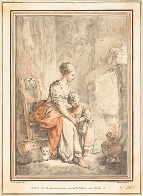 Woman and Child before a Fireplace