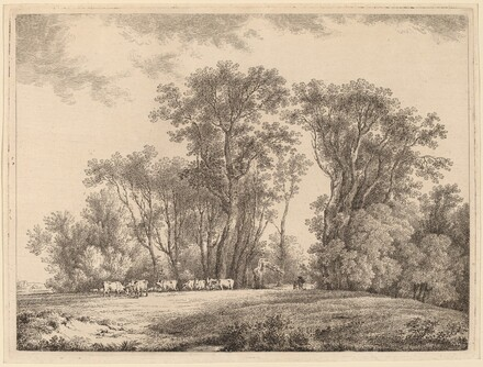 A Meadow with Cattle at the Edge of a Wood