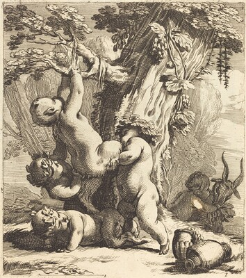 Putti and Fauns Climbing a Grapevine