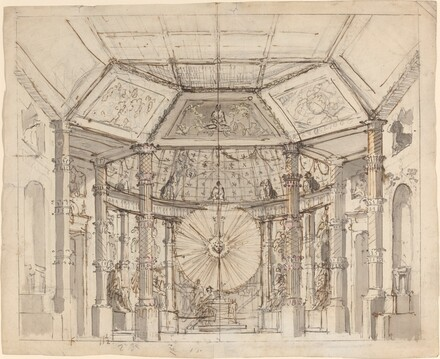 Stage Design for a Domed Temple Interior with a Sun Disk above the Altar