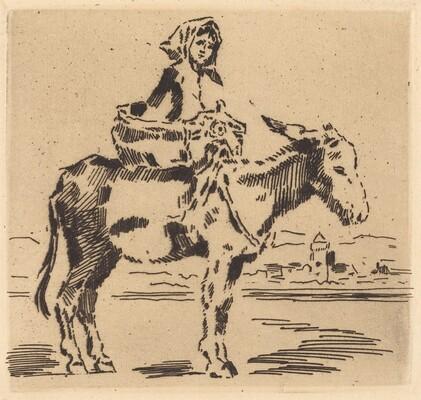 Cacoletière à la Tour (Woman Riding an Ass near a Tower)