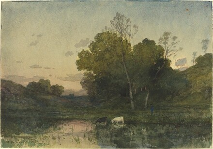 Evening Light on a Wooded Lakeside with Cattle Drinking
