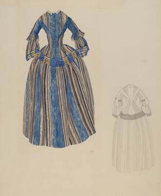 Blue & Grey Striped Dress