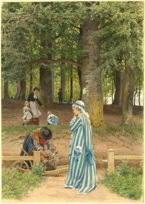 The Artist's Wife and Daughters in a Park at Heringsdorf