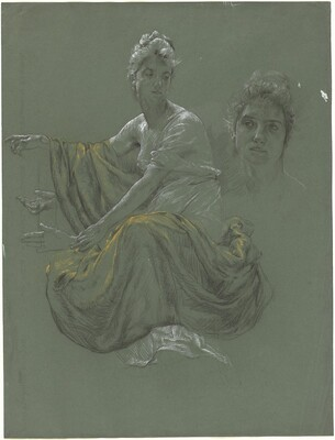 Elegant Young Woman in Classical Drapery